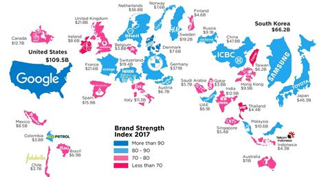 infographic this map shows the most valuable brand for each country