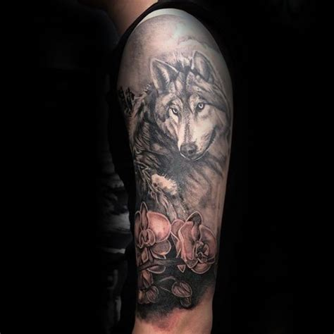 half sleeve orchid and wolf mens tattoo ideas tattoo