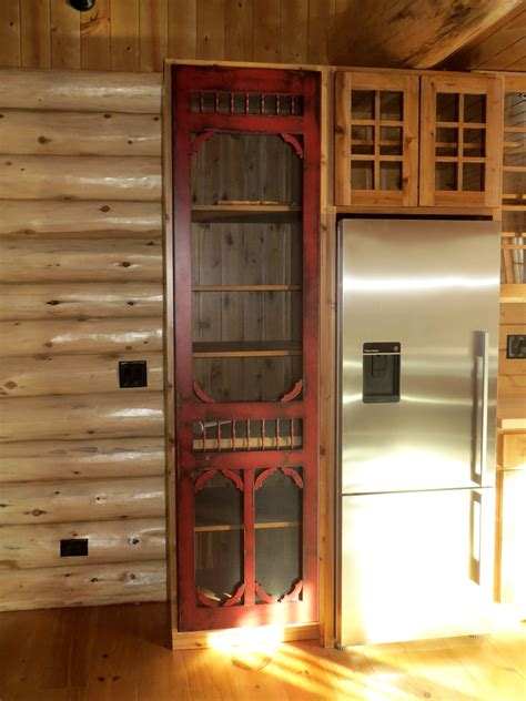 red distressed victorian style screen door  pantry