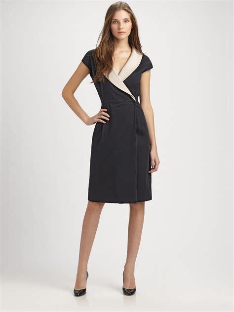 Maxmara Dress lyst max mara cotton wrap dress in black