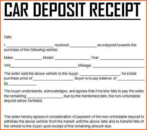 car sales deposit receipt template 11 car deposit form budget template letter
