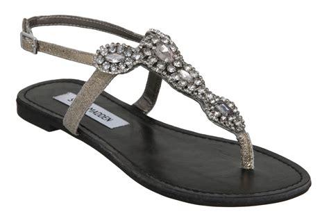 steve madden sandals flat steve madden glare flat diamante sandals in gray pewter