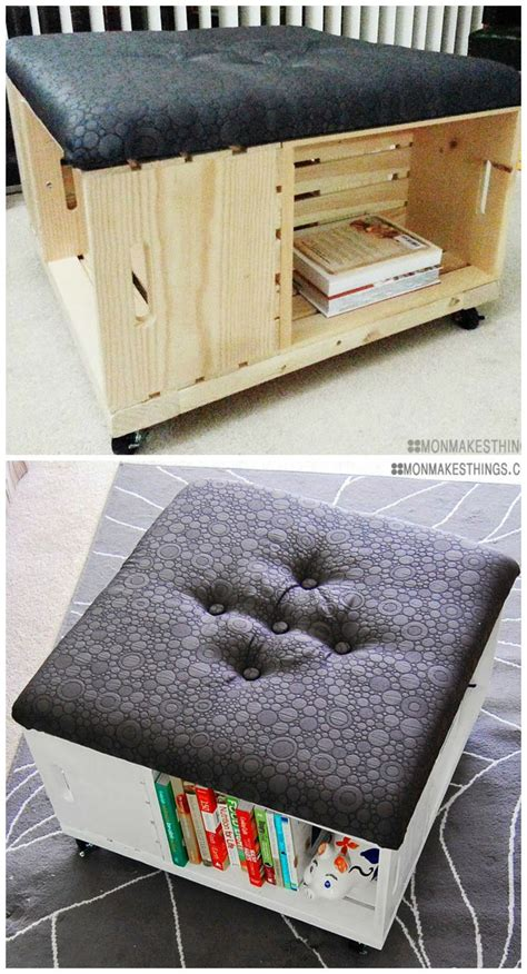 Diy Storage Ottoman Plans So In Diy Storage Ottoman Made Of Wooden Crates With Awesome Fabric This Is A Must Do