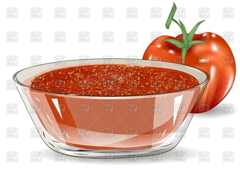 salsa clipart tomato salsa in glass bowl and tomato royalty free vector