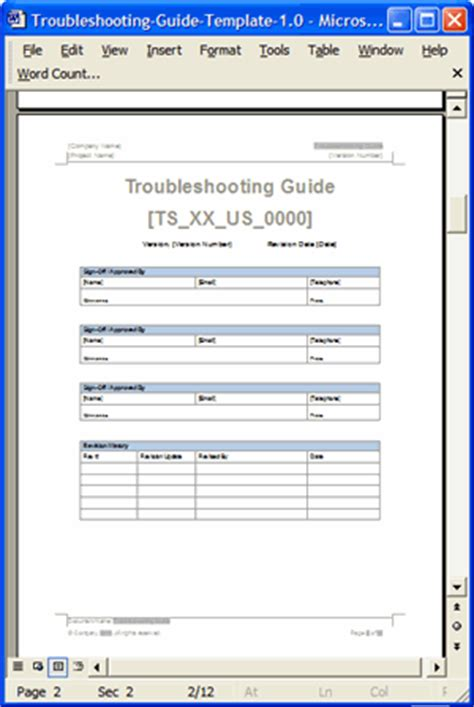 looking for a troubleshooting guide template ms word troubleshooting guide templates 3 x ms word
