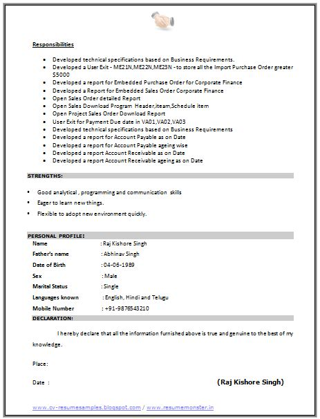 declaration format in resume for freshers 10000 cv and resume sles with free cv format for sap consultant