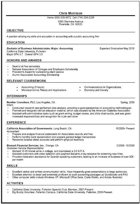 general resume sle career center csuf