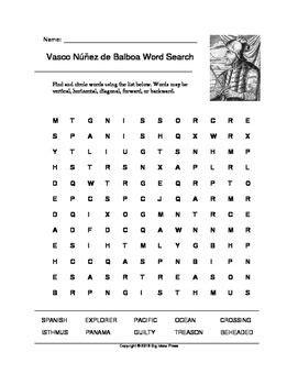 7 Sincere Answers Of Great Immoralmatriarch by Vasco N 250 241 Ez De Balboa Word Search Grades 2 4 Word
