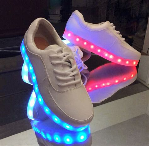 lighting sneakers korea fashion couples led colorful fluorescent usb