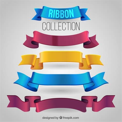 pack  realistic ribbons vector