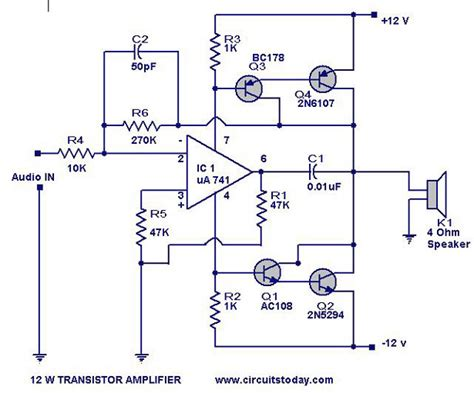 transistor lifier transistor lifier circuit with diagram for 12 watts
