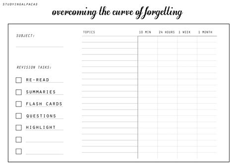 free printable revision planner studying alpacas
