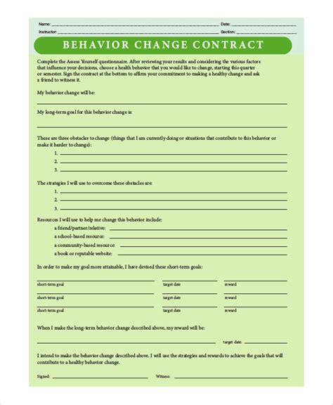 behavior modification contract template sle behavior contract 10 exles in pdf word