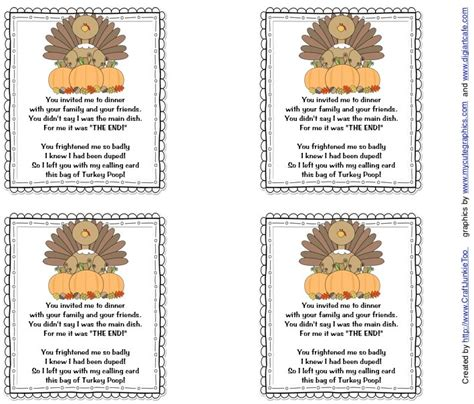 printable turkey poop poem funny volunteers and the o jays on pinterest