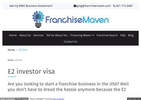 e2 investor visa e2 visa e 2 visa franchise maven