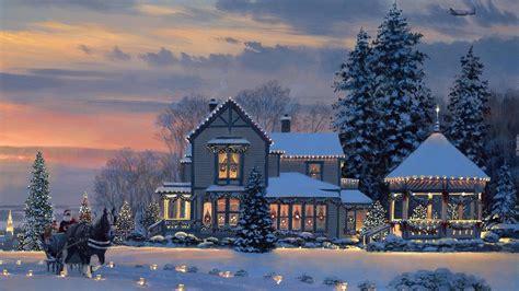 christmas in central park back drops for santa pics zima dom altanka łaj reprodukcja obrazu