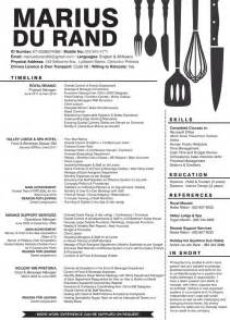 creative resume for a person in the food hospitality
