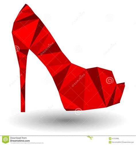 Shoe Origami - abstract high heel shoe in origami style stock