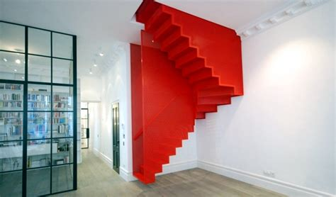 Bathroom Designs Idea floating staircase in bright red and striking by slide