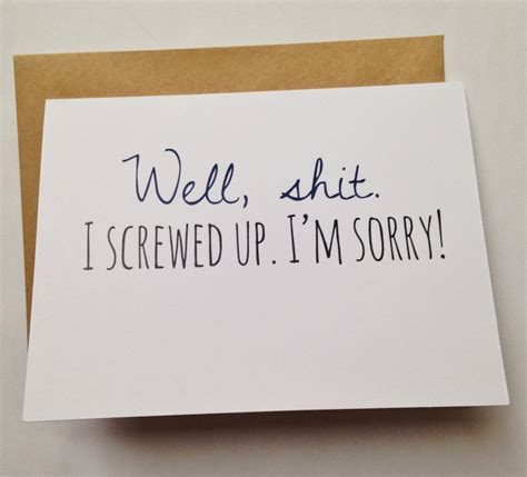 Apology Letter Gift Card I M Sorry Card Apology Card I Screwed Up Humor Card