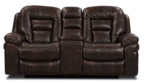 Leo Upholstery by Leo Leath Aire 174 Fabric Power Reclining Loveseat Walnut