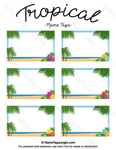 tropical card template free printable tropical name tags the template can also