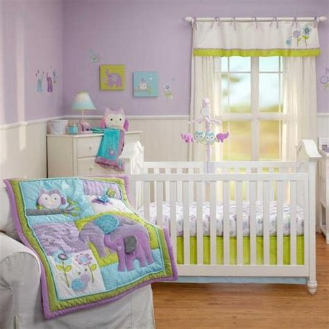 Blue And Green Crib Bedding Sets Purple Blue Green Jungle Safari Animals Baby 4p Nursery Crib Bedding Set Jungle Safari