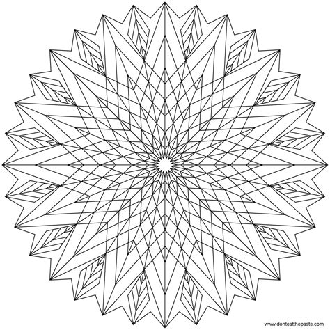 difficult geometric coloring pages don t eat the paste star mandala to color