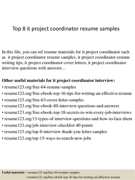 top 8 it project coordinator resume sles