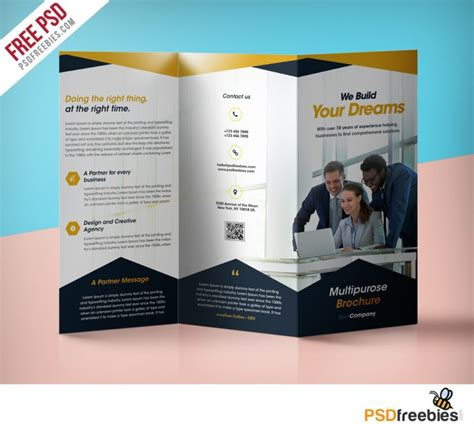 professional corporate tri fold brochure free psd template