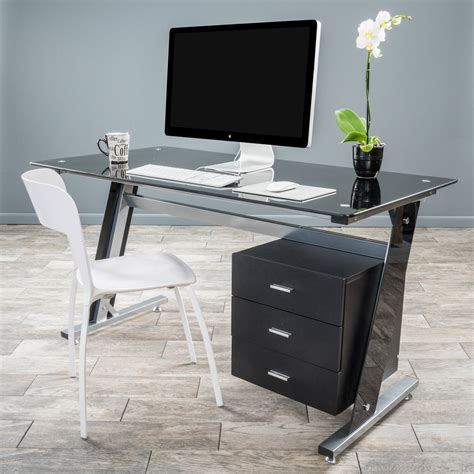Glass Computer Desk With Drawers Genesis Black Glass Computer Desk Cabinet Drawers Great Deal Furniture