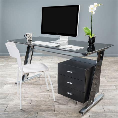Computer In Glass Desk Genesis Black Glass Computer Desk Cabinet Drawers Great Deal Furniture