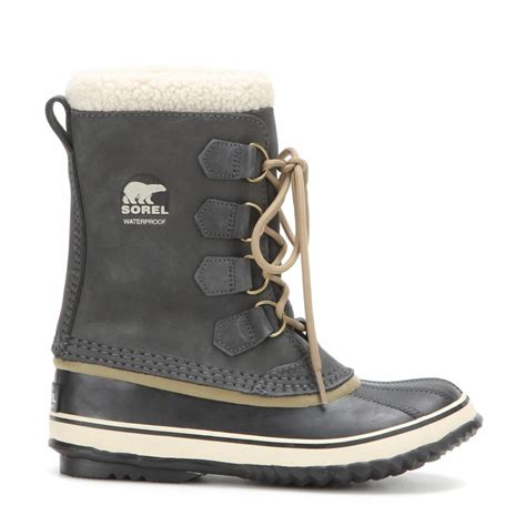 sorel 1964 pac 2 leather and rubber boots in black lyst