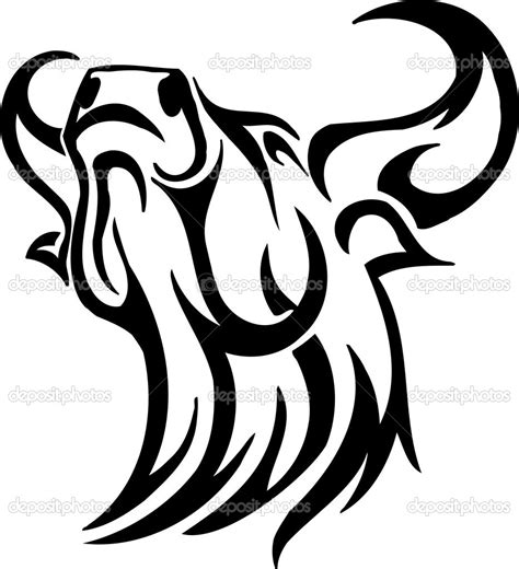 monochrome drawing bull tribal patterns on stock vector bull black and white clipart clipart suggest
