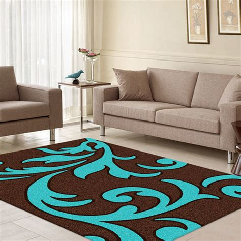 Brown And Turquoise Area Rugs Majestic Carving Brown And Turquoise Contemporary Rug Temple Webster