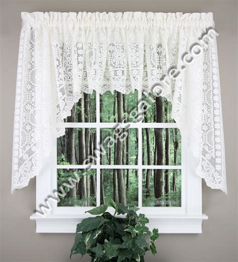 White Swag Valance new rochelle lace swag white united curtain swag