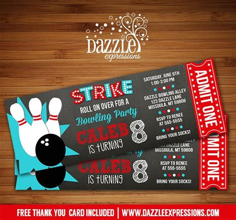 printable bowling tickets printable chalkboard bowling ticket invitation kids or