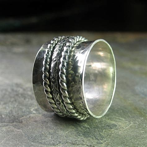 spinner ring meditation ring worry ring wide band sterling