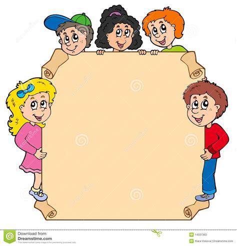 clipart per bambini pergamena con i vari bambini appostantesi illustrazione