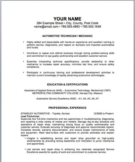 delivering your credentials effectively on auto mechanic resume delivering your credentials effectively on auto