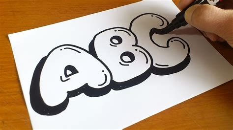 easy   draw graffiti bubble letters abc youtube