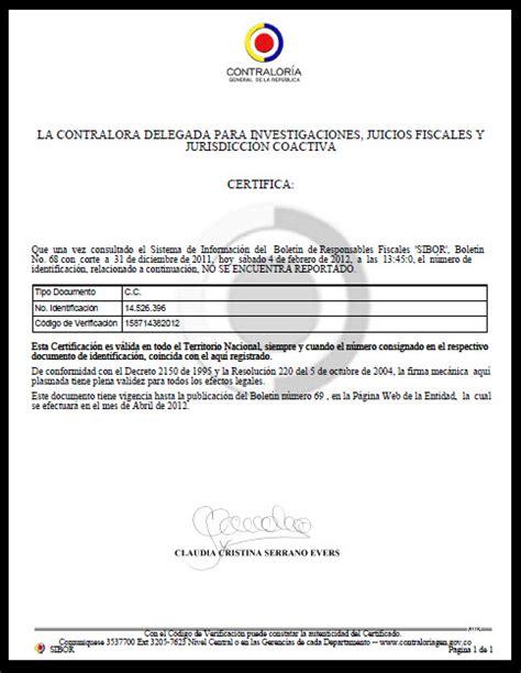 consultar certificado de antecedentes en colombia certificado contraloria persona natural contralor 237 a