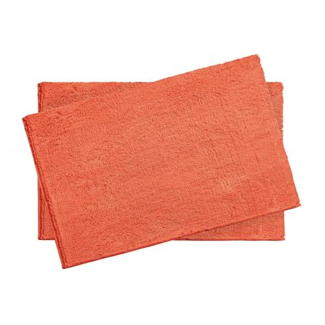 Coral Bathroom Rug Resort Collection Plush Shag Chenille Coral 2 17 In