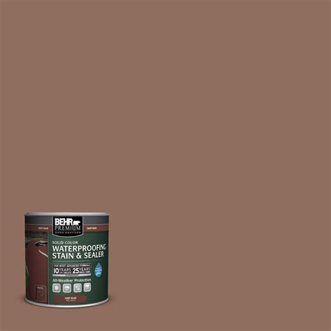 behr premium 8 oz sc 148 adobe brown solid color waterproofing stain and sealer sle 501316