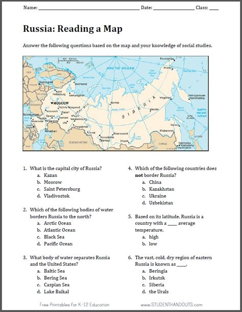 Russian Math Worksheets by Russia Free Printable Map Worksheet Student Handouts