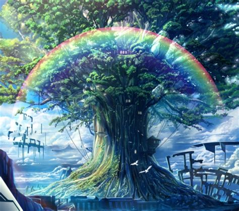 rainbow treehouse  anime background wallpapers