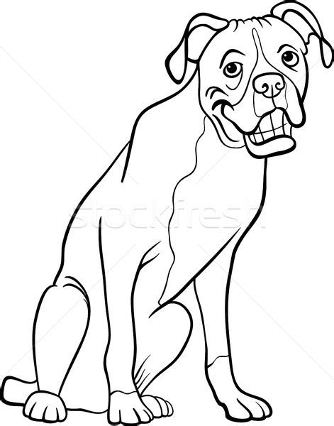 coloring pages of guide dogs boxer for coloring book vector illustration