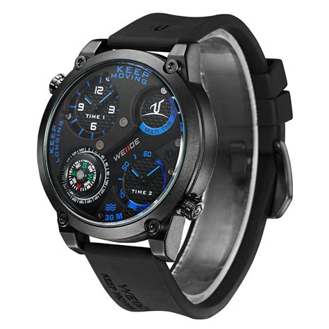 Weide Universe Series Dual Time 30m Water Resistance Limited 1 weide universe series dual time zone compass 30m water resistance uv1505 black blue