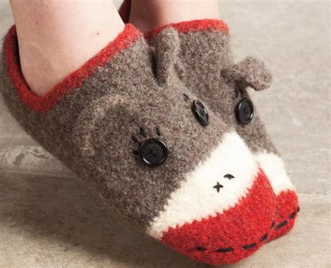 sock monkey house shoes crocheted sock monkey slippers knitting patterns and crochet patterns from knitpicks com