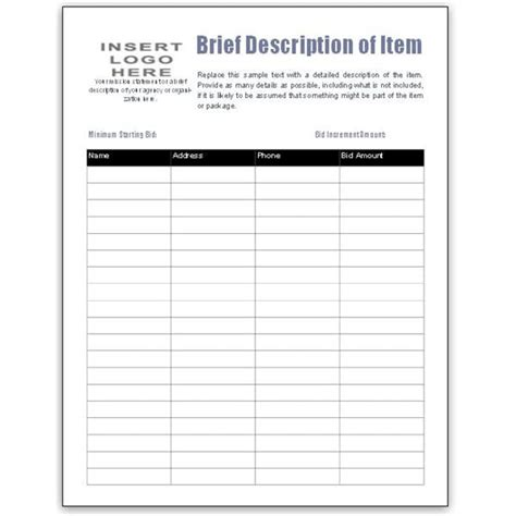 5 Auction Bid Sheets Templates Formats Exles In Word Excel Auction Bid Sheet Template